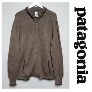 Patagonia Mens Brown Wool Blend Full Zip Sweater